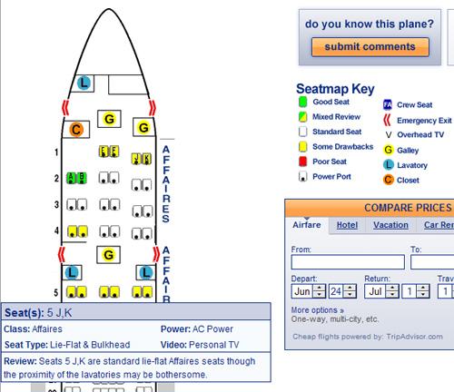 Sitzplatz AirFrance A330
