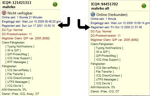 Meine beiden ICQ-Nummern
