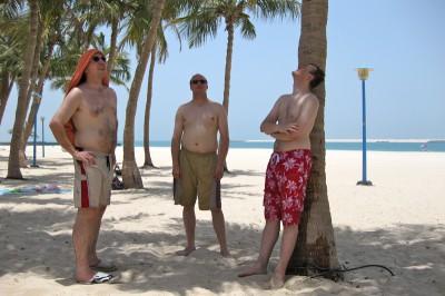 Wir am Strand (das Bild ist vom ersten Tag)