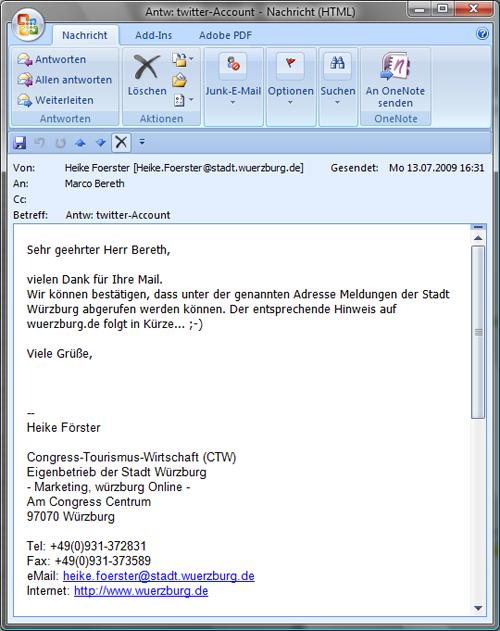 E-Mail der Stadt Würzburg