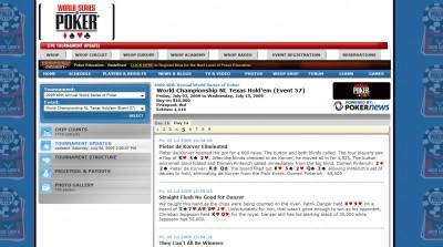 Der Straight Flush im Liveticket auf WSOP.com
