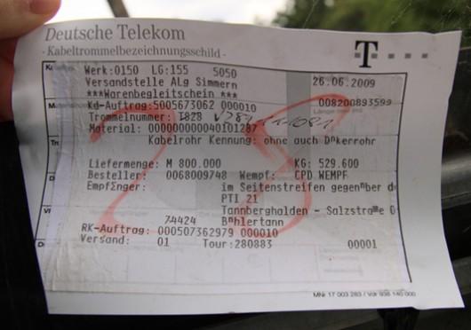 Leerrohr der Deutschen Telekom