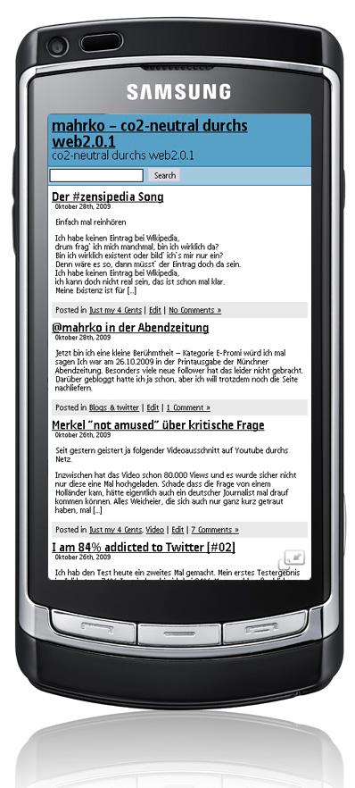 Handyansicht auf dem i8910HD - oberer Teil