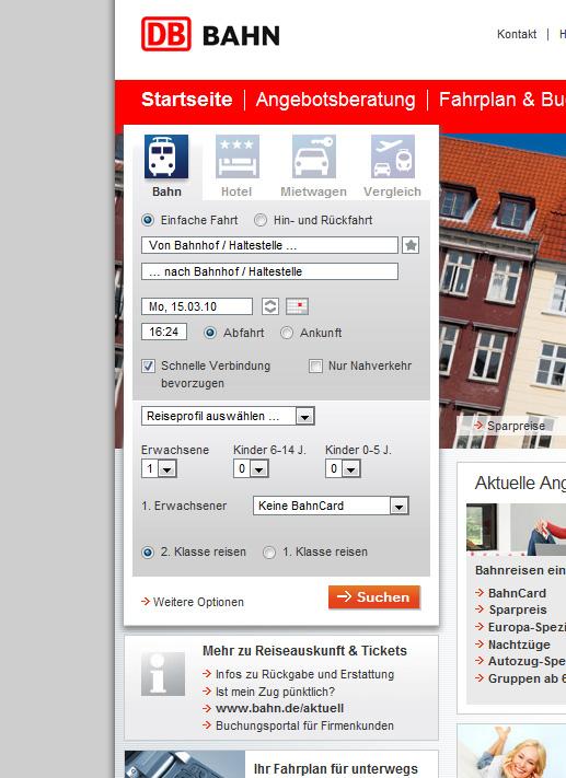 Unübersehbar - die Fahrplanauskunft auf bahn.de