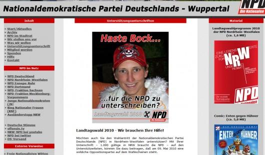 Heimseite der NPD Wuppertal