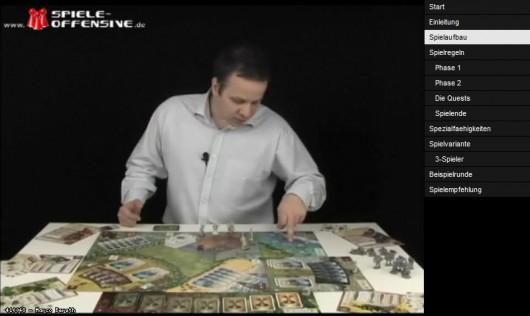 Spieleerklärer Björn - rechts die Kapiteleinteilung