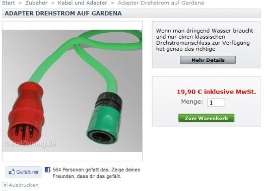 Adapter Drehstrom auf Gardena