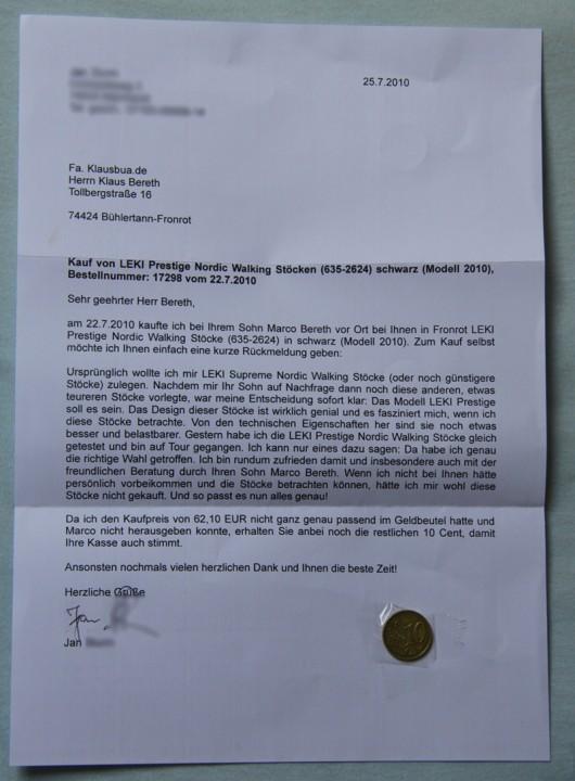 Der Brief mit den 10 Cent - der wird eingerahmt ;-)