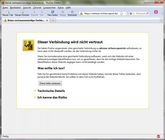 Danke Firefox! Du hast mich vor größerer Dummheit beschützt ;-)