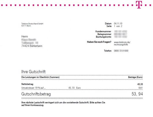 Bestätigung über die Gutschrift in Höhe von 53,94 EUR