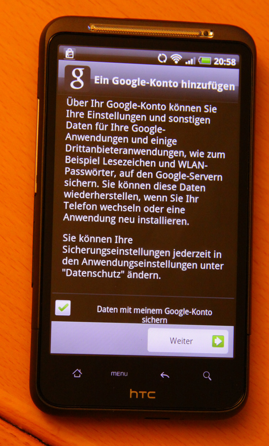 Google Abfrage unter Android