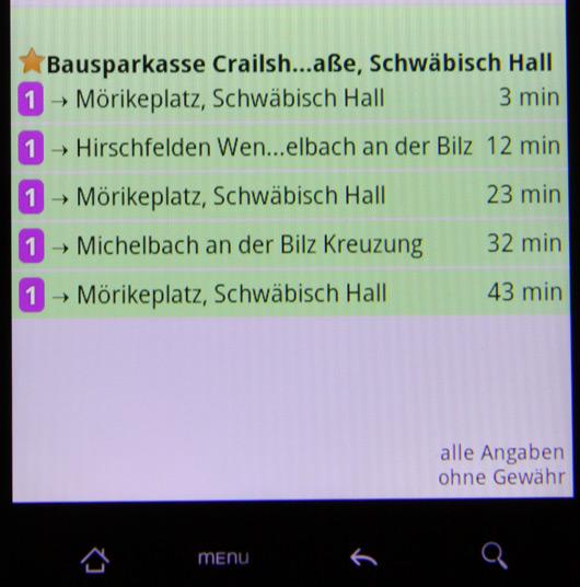 Die Abfahrtszeiten in der App.