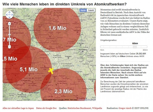 60km Radius um Kernkraftwerke, Ausschnitt Nordostwürttemberg