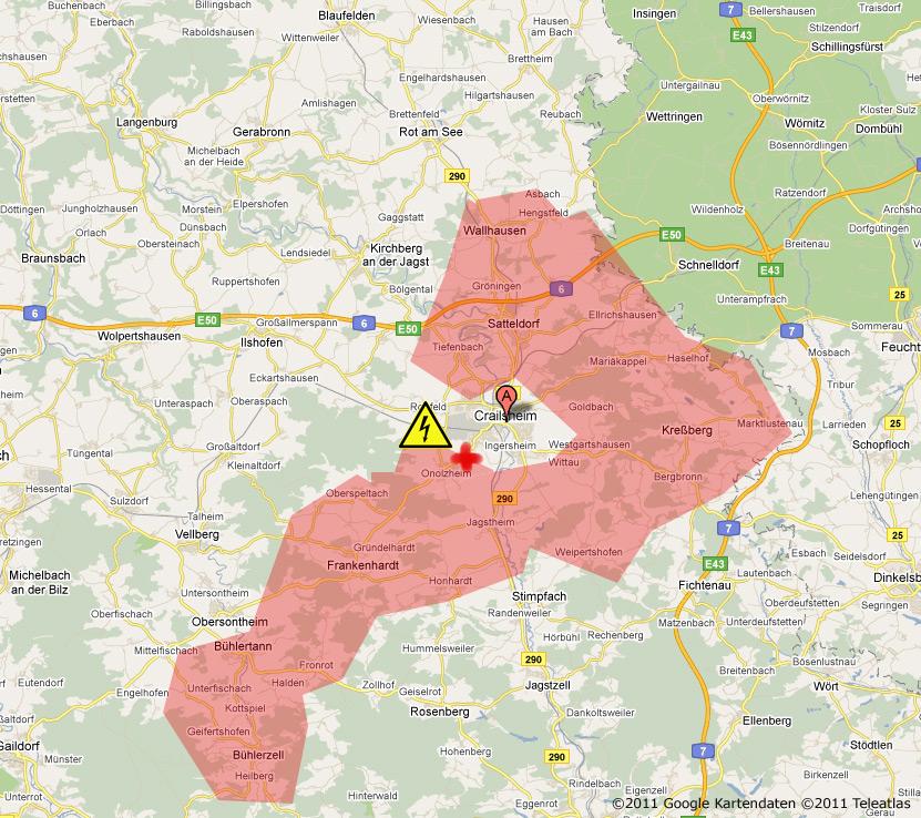 stromausfall karte Gebiet des Stromausfalls um Crailsheim — Daten gesammelt über die