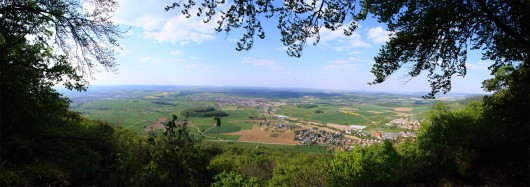 Panorama auf dem Rosenstein mit Blickrichtung Böblingen, Mögglingen, Aalen