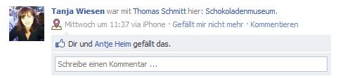 Facebook Checkin in Köln...