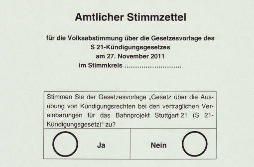 Stimmzettel Stuttgart 21
