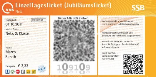 VVS-Jubiläumsticket für 3,33 EUR