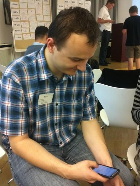 Der @mahrko in typischer Barcamp-Haltung (Foto by Uwe Hauck, mit ck!)