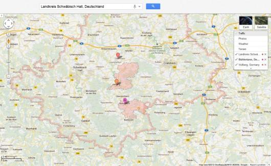 Mehrere Layer in einer Karte. (© GoogleMaps)