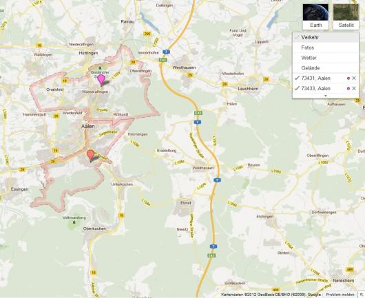 Unterschiedliche Postleitzahlengebiete in Aalen (© GoogleMaps)
