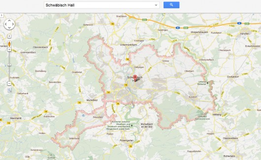 Grenzen der Stadt Schwäbisch Hall (© GoogleMaps)
