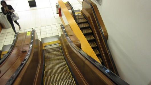 Rolltreppen aus Holz im Macy's. Noch nie zuvor gesehen.