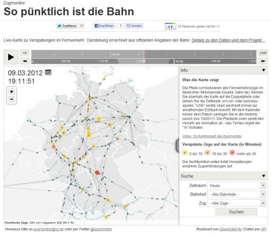 Live-Verspätungen der Fernverkehrszüge in Deutschland. (© sz.de)