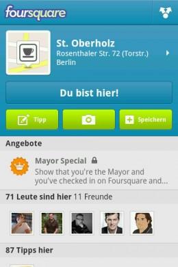 71 Checkins auf Foursquare. In Deutschland immer noch eine Seltenheit.