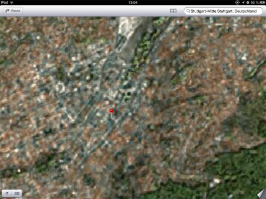 Man kann es kaum erkennen, aber das soll die Stuttgarter Innenstadt sein.