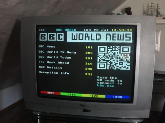 """QR-Code im Kanal """"BBC World""""."""