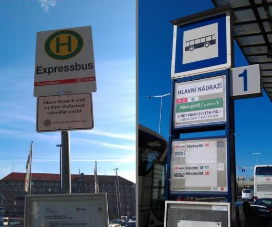 Links die Nürnberger Bushaltestelle, rechts das Prager Gegenstück dazu.