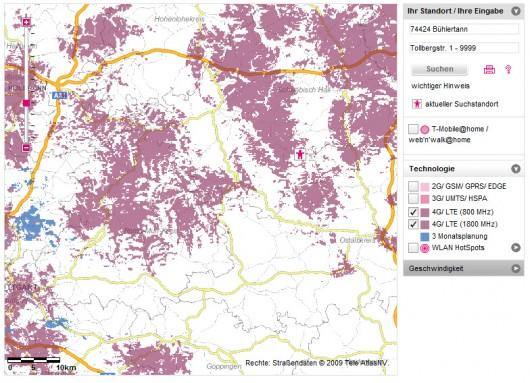 Hier bietet die Telekom LTE an (800 MHz und 1800 MHz)