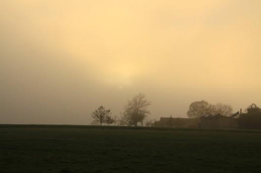 Gegen 17:30 Uhr zog langsam Nebel auf Hochebene auf.