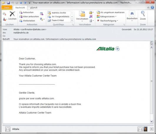 Informazioni sulla tua prenotazione su alitalia.com