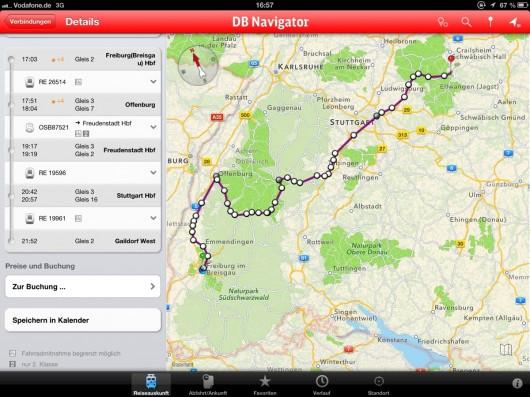 Meine Rückfahrt im DB Navigator.