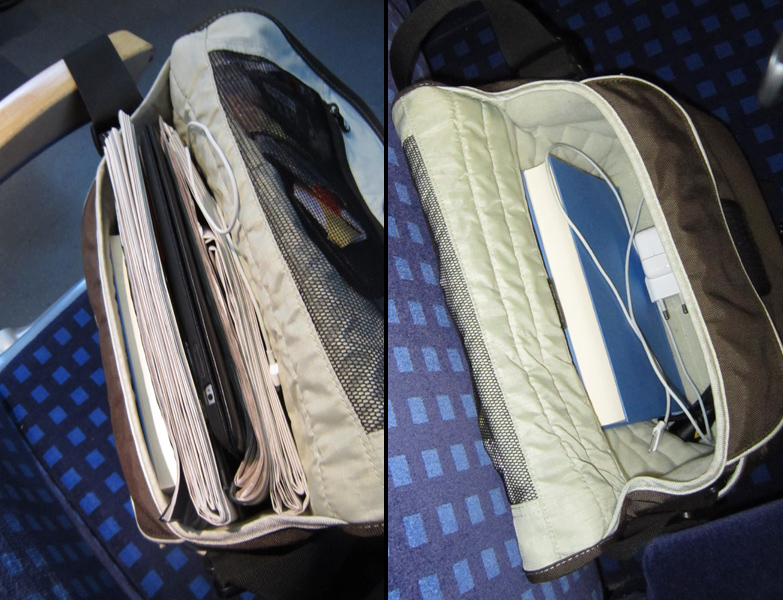 Links: meine Tasche am Morgen - rechts: meine Tasche am Abend.