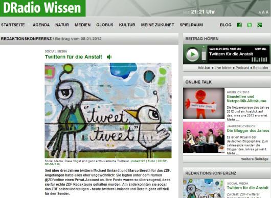 Twittern für die Anstalt (Screenshot wissen.dradio.de)