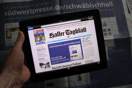 Mein iPad mit der Onlinegabe des Haller Tagblatts.