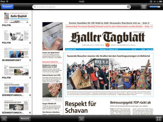 Zeitungsansicht in der SWP-App.