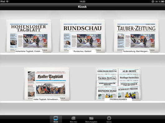Auswahl der Lokalausgabe in der iPad-App.
