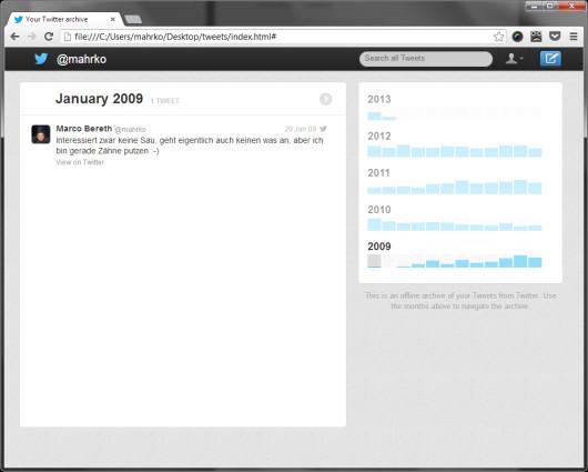 Twitter-Archiv mit meinem allerersten Tweet!