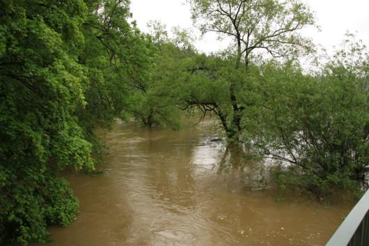 """Das """"reguläre"""" Flussbett der Jagst."""