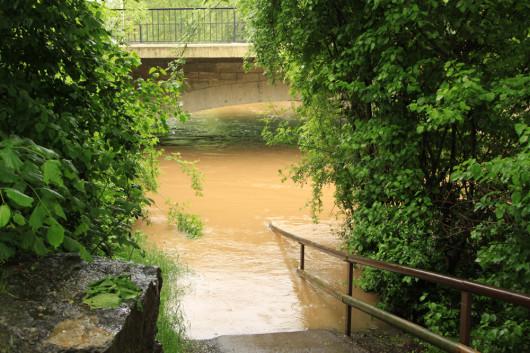 Fußwege entlang des Kochers. Leicht überschwemmt!