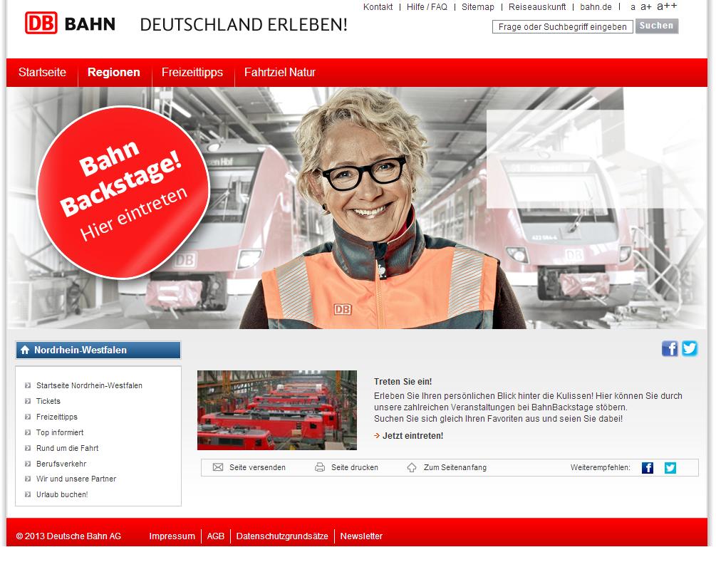 Ein Screenshot der eigens angelegten Webseite für die Backstage-Touren.