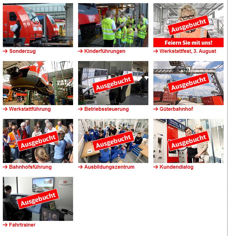 Angebotene Backstage-Touren von DB Regio NRW.