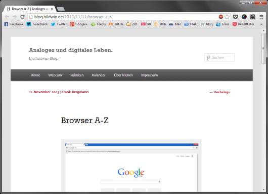 Meine Lesezeichen im Browser.