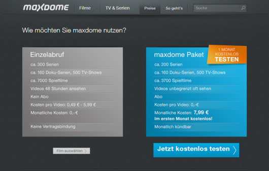 "Das ""Flatrate""-Angebot von maxdome (Screenshot: maxdome.de)"