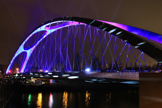 Die Osthafenbrücke von der anderen Seite.