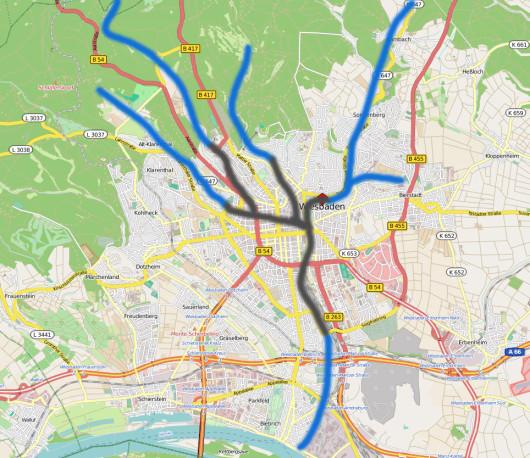 Entwässerung Wiesbadens über verschiedene Bäche. (Karte: openstreetmap.org)